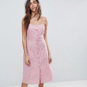 Asos Button Through Linen Midi Sun Dress
